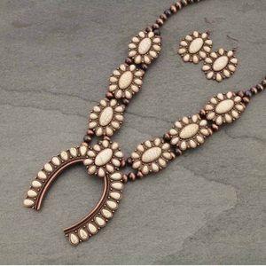 Navajo Style Pearl Squash Blossom Necklace Set